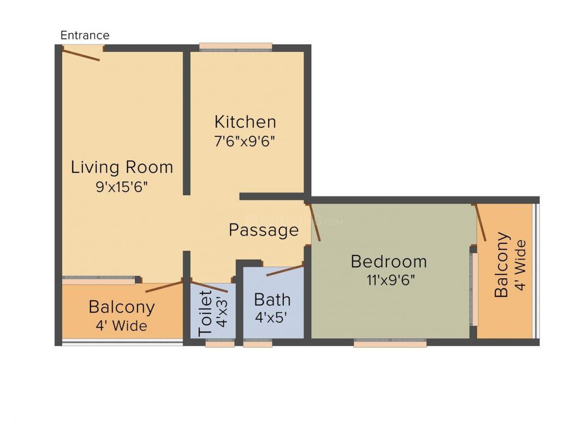Floor Plan Image of 450.0 - 670.0 Sq.ft 1 BHK Apartment for buy in Shreeji Homes