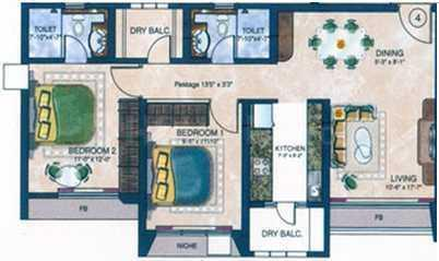 Evershine Cosmic Floor Plan: 2 BHK Unit with Built up area of 1095 sq.ft 1