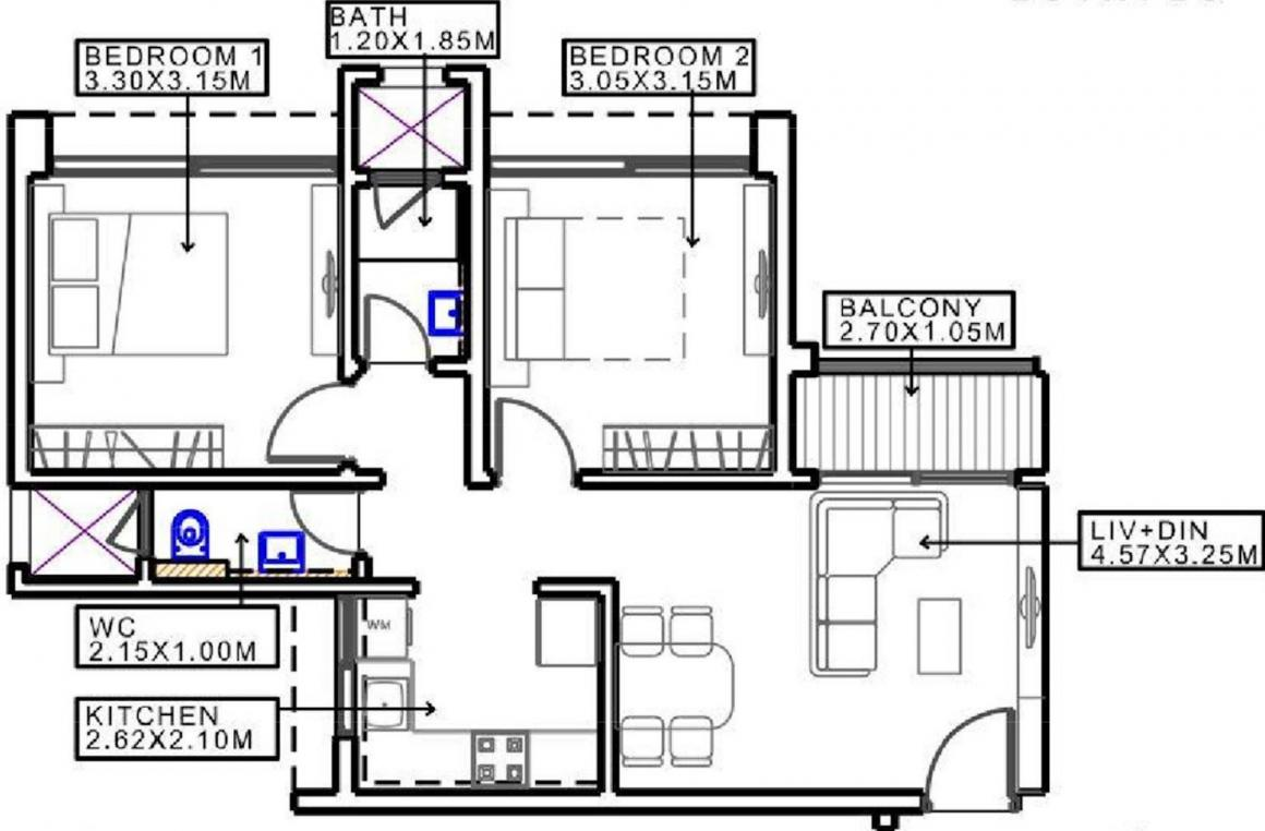 Duville Riverdale Grove Floor Plan: 2 BHK Unit with Built up area of 593 sq.ft 1