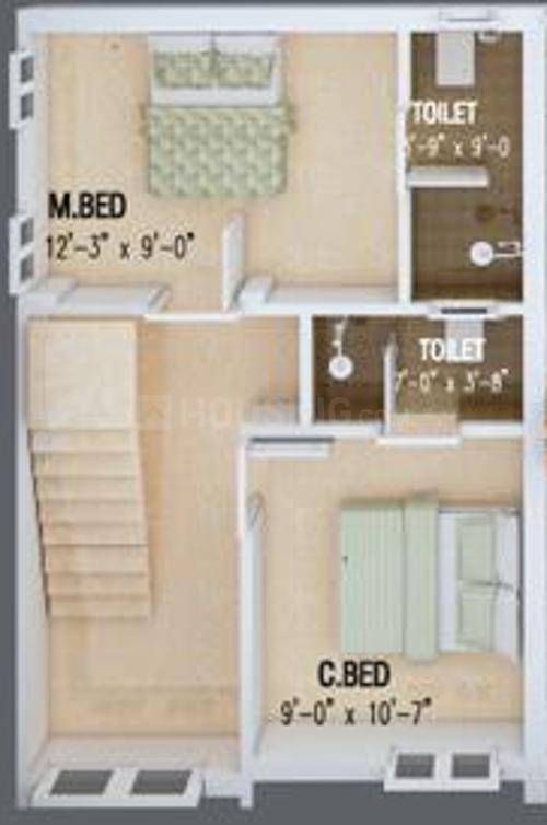 Viva Varsha Floor Plan: 3 BHK Unit with Built up area of 1100 sq.ft 2