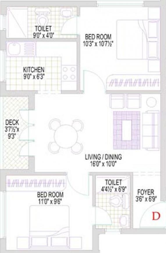 Lakshmi Annai Sathya Nagar Floor Plan: 2 BHK Unit with Built up area of 786 sq.ft 1