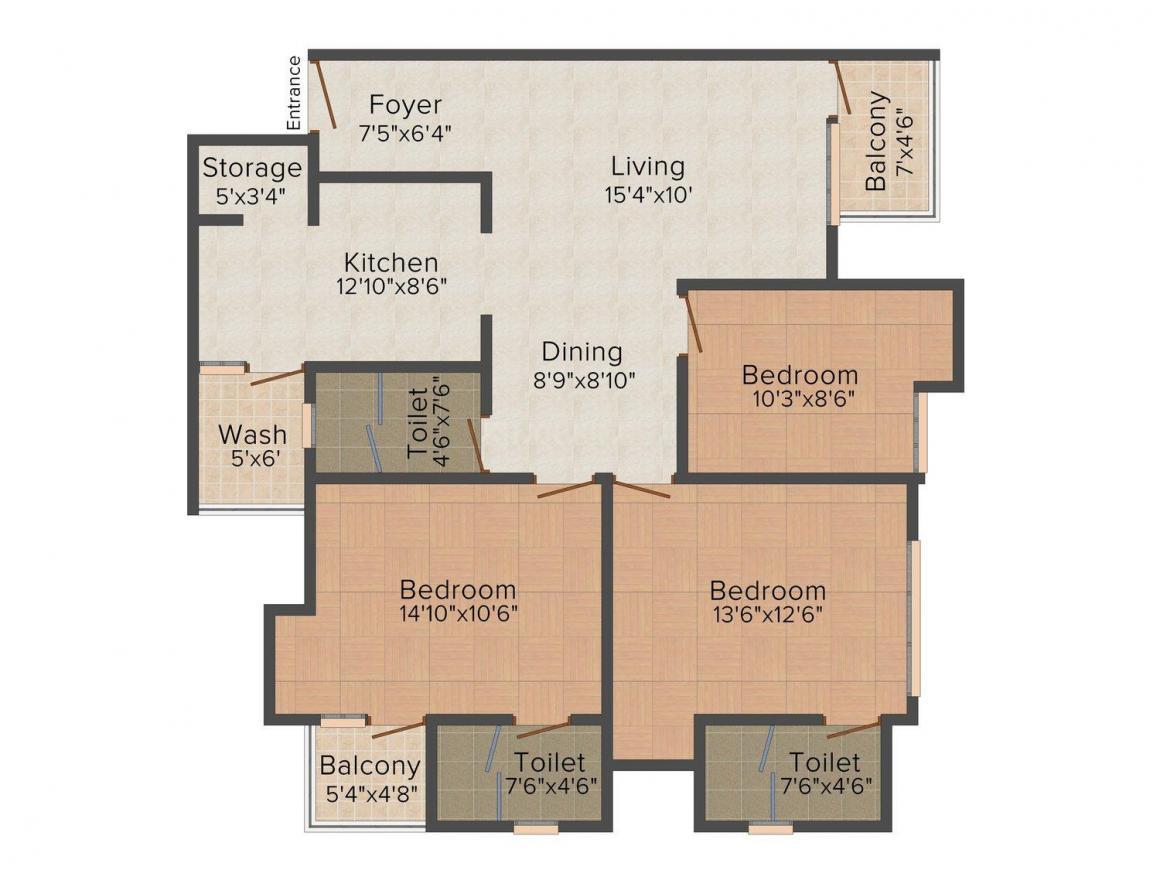 Floor Plan Image of 0 - 1574.0 Sq.ft 3 BHK Apartment for buy in Pukhraj Divine