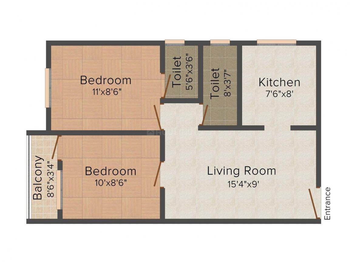 Raghav Uma Nagar Floor Plan: 2 BHK Unit with Built up area of 700 sq.ft 1