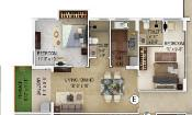 Merlin Verve Floor Plan: 2 BHK Unit with Built up area of 700 sq.ft 1