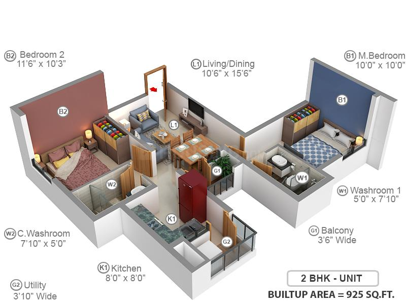KG Signature City Floor Plan: 2 BHK Unit with Built up area of 925 sq.ft 1