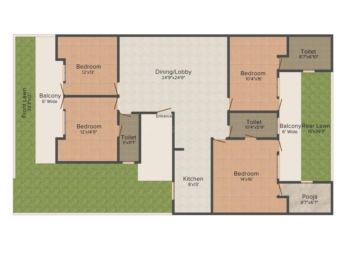 Yash Homes - 2 Floor Plan: 4 BHK Unit with Built up area of 1950 sq.ft 1