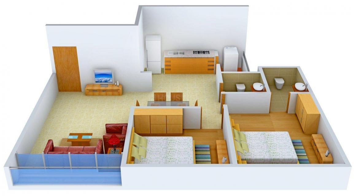Setu Emerald Floor Plan: 2 BHK Unit with Built up area of 1170 sq.ft 1
