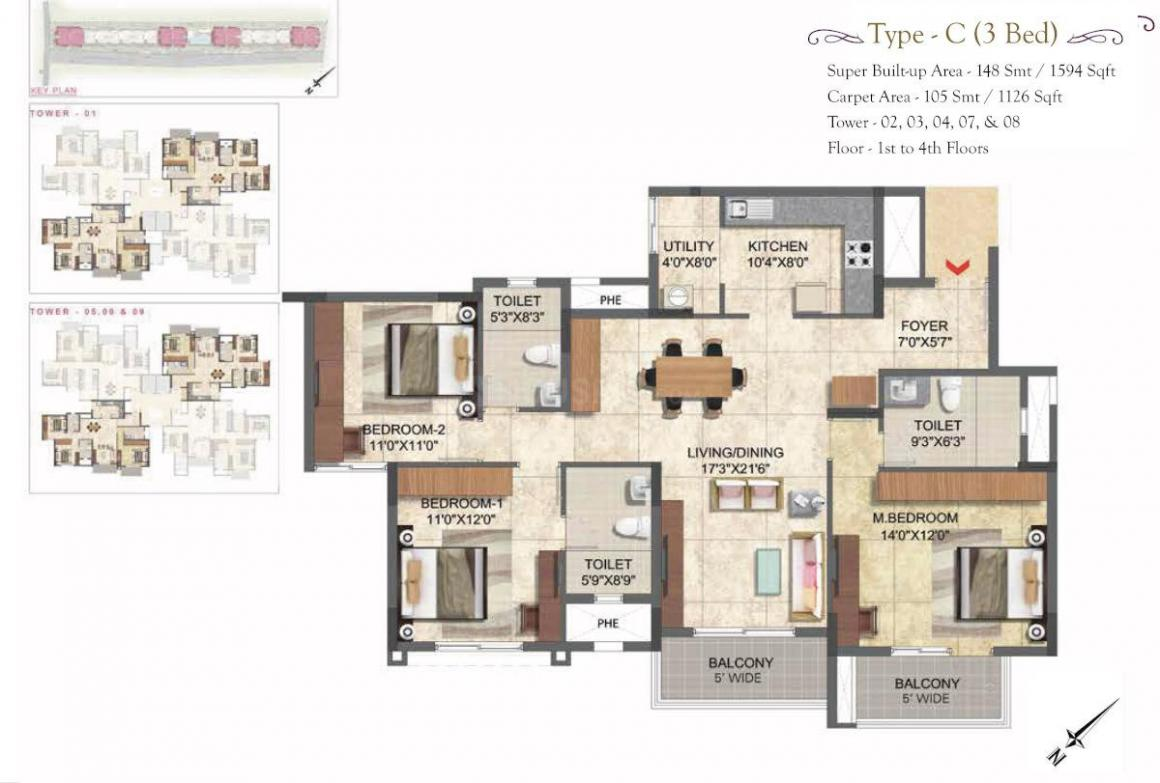 Prestige Boulevard Floor Plan: 3 BHK Unit with Built up area of 1594 sq.ft 1