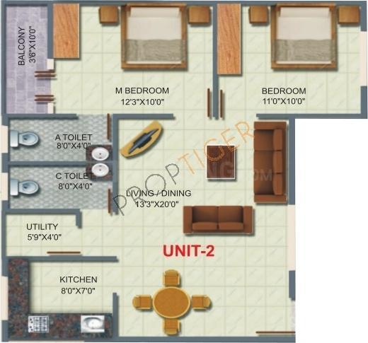 Nishitas Honey Dew Floor Plan: 2 BHK Unit with Built up area of 900 sq.ft 1