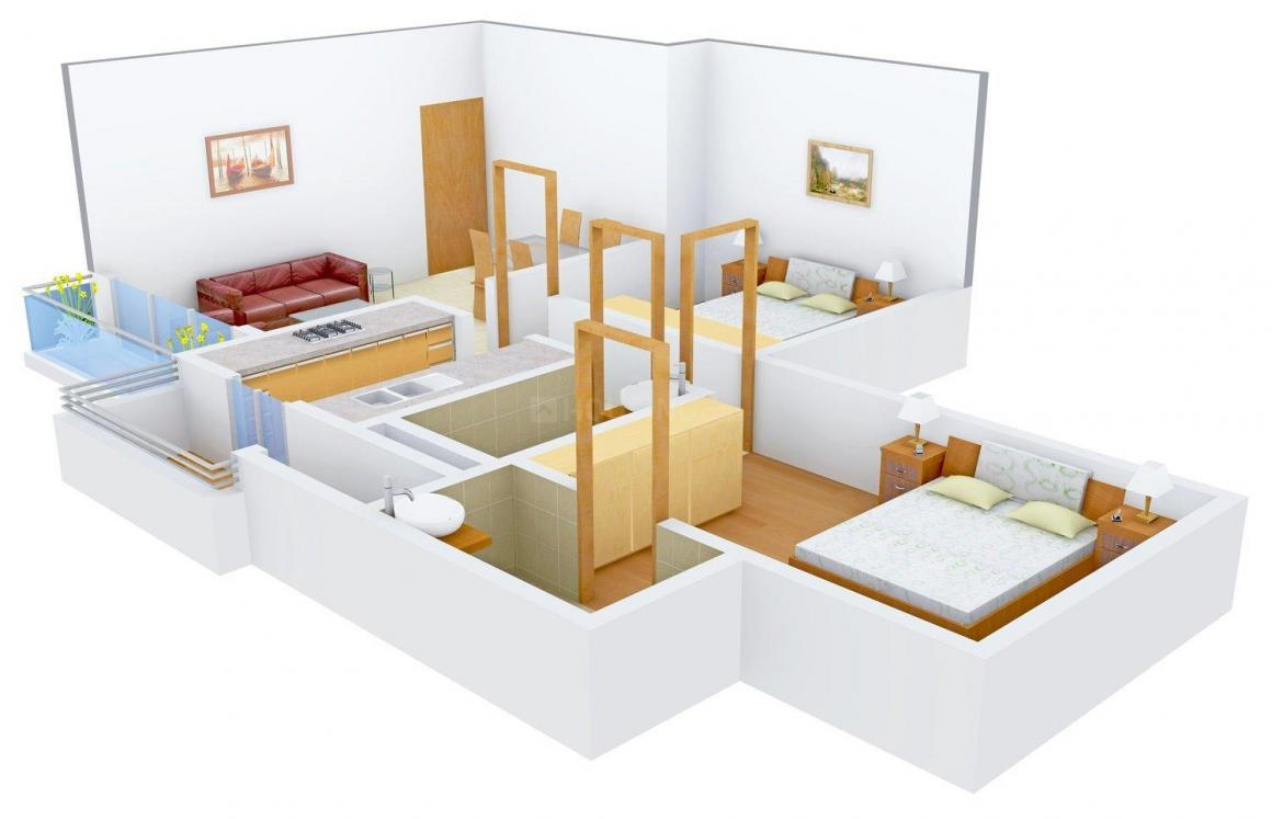 Floor Plan Image of 1050.0 - 1360.0 Sq.ft 2 BHK Apartment for buy in Aakash Ashish Golden Jubilee Tower