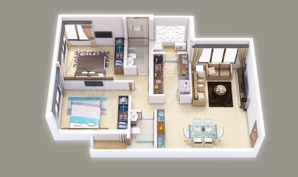 Hemani Login Floor Plan: 2 BHK Unit with Built up area of 765 sq.ft 2