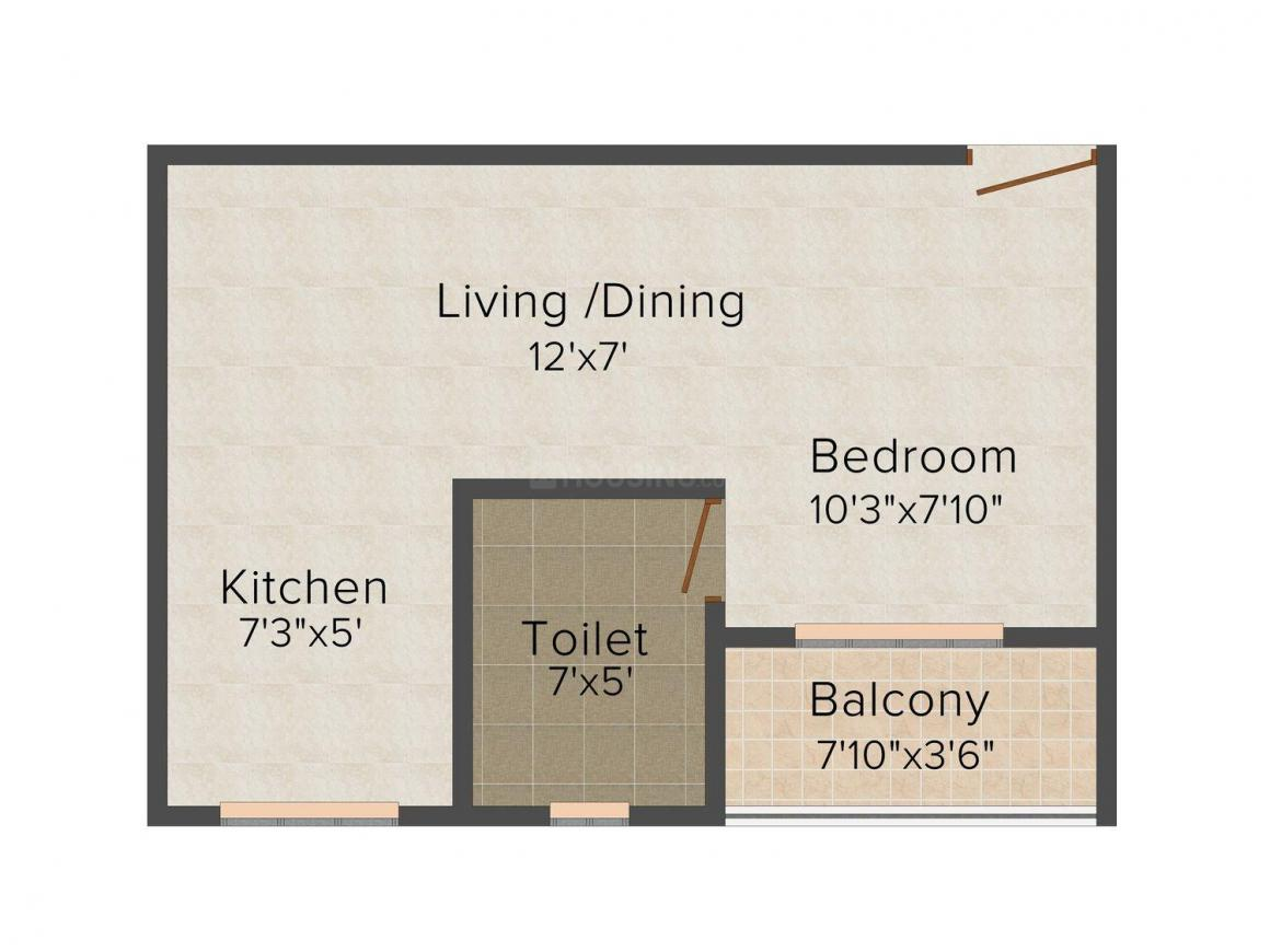 Floor Plan Image of 405.0 - 540.0 Sq.ft 1 BHK Apartment for buy in Morya Executive