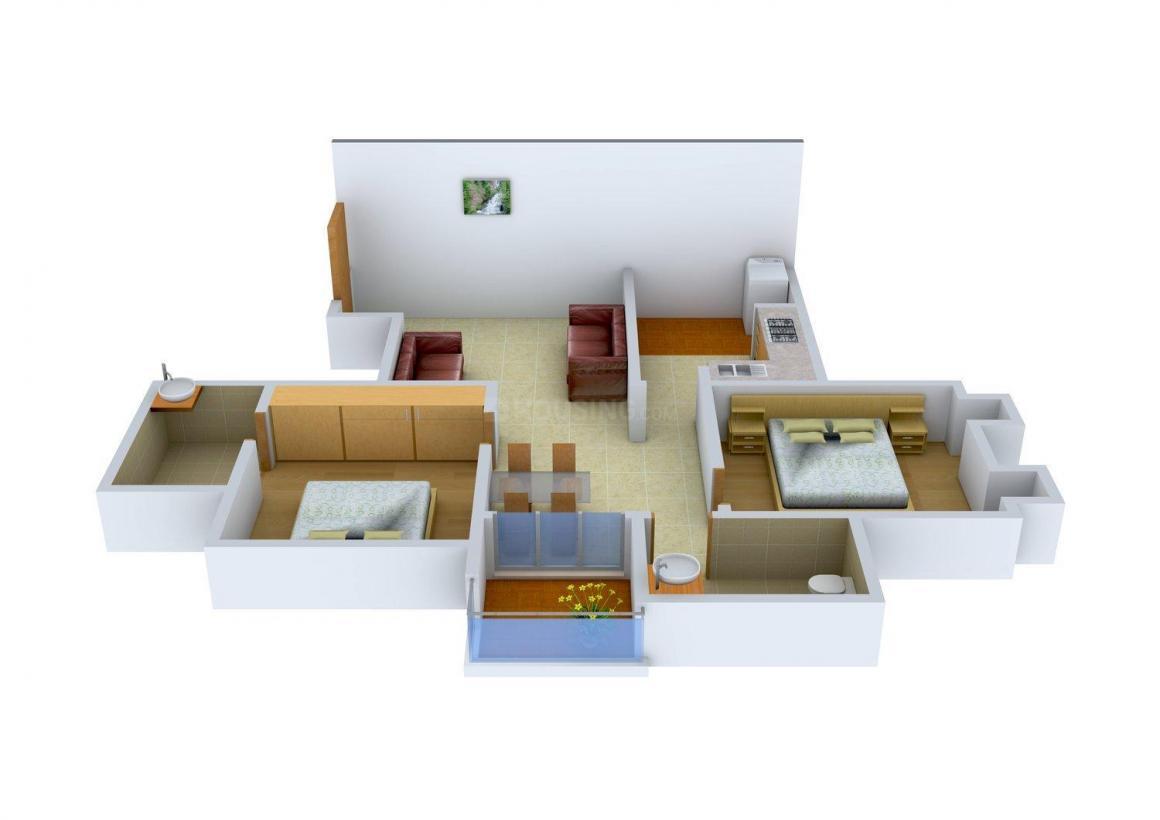 Sarvodya Om Usha Villa Floor Plan: 2 BHK Unit with Built up area of 1230 sq.ft 1