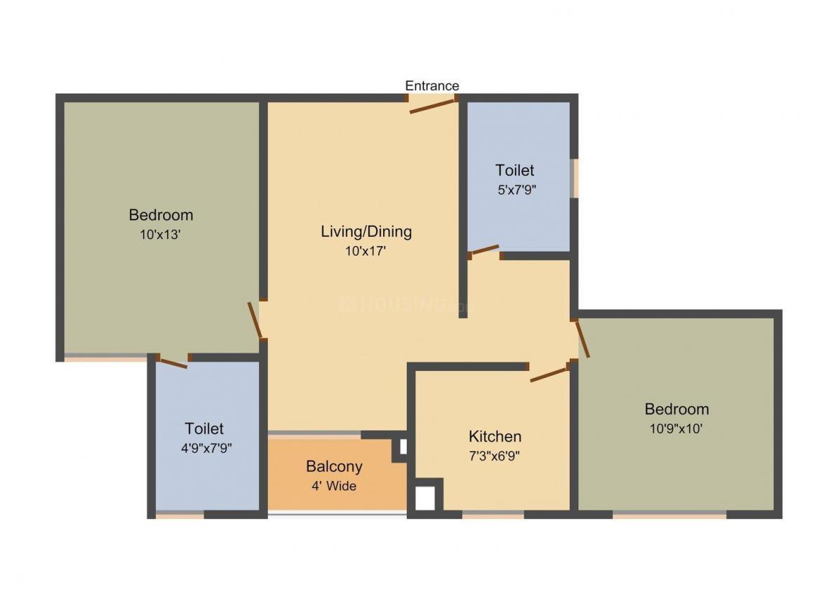 Floor Plan Image of 906.0 - 2304.0 Sq.ft 2 BHK Apartment for buy in Pioneer Blue Fox Aurum