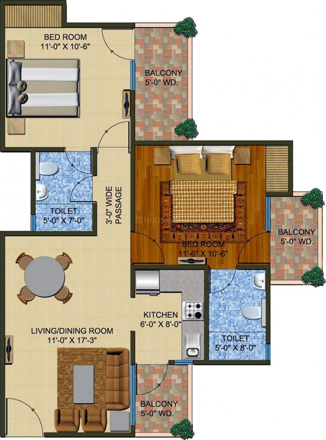 Supertech The Romano Floor Plan: 2 BHK Unit with Built up area of 1020 sq.ft 1