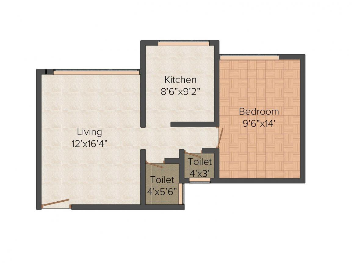 Floor Plan Image of 670 - 1005 Sq.ft 1 BHK Apartment for buy in Vardhaman Valley