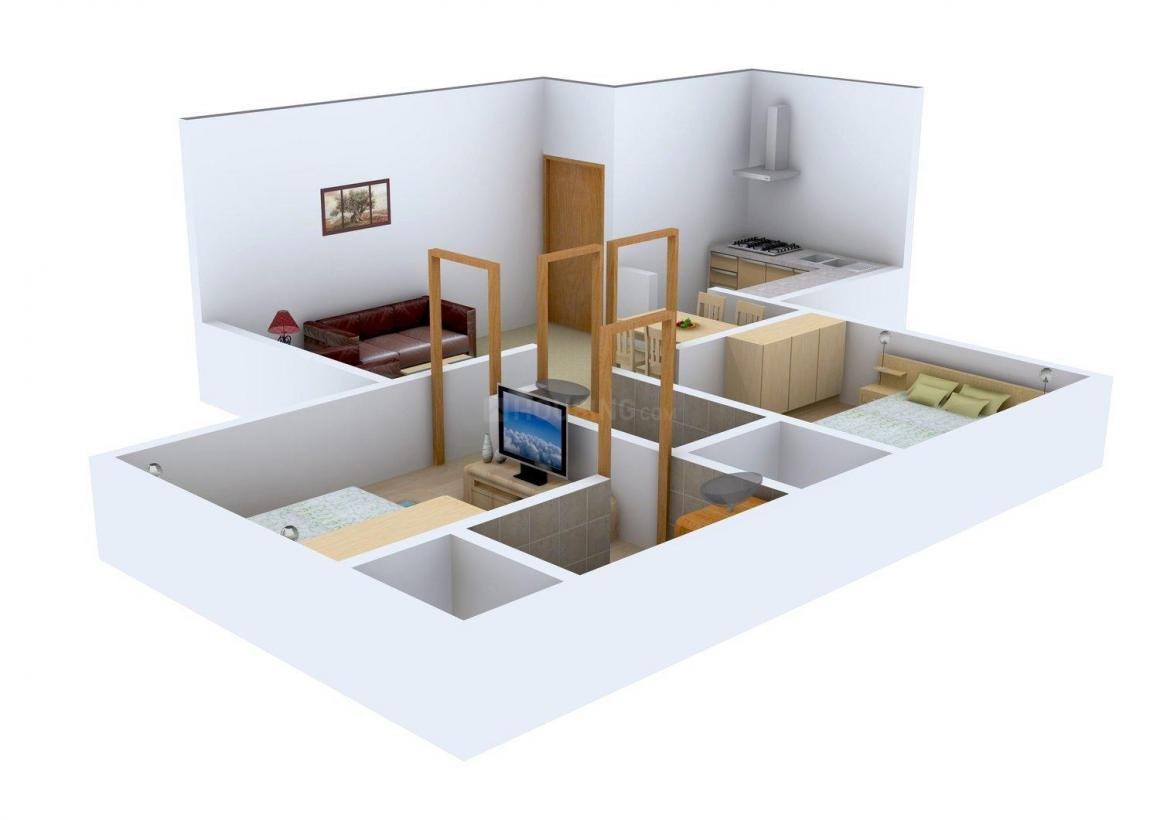 Floor Plan Image of 542.0 - 689.0 Sq.ft 2 BHK Apartment for buy in Triveni Aster