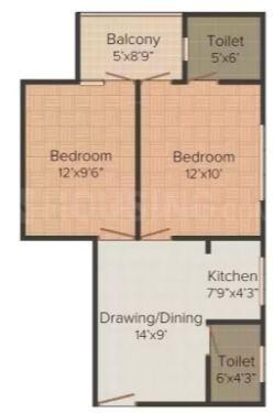 Magic Makaan Magic Floor Plan: 2 BHK Unit with Built up area of 980 sq.ft 1