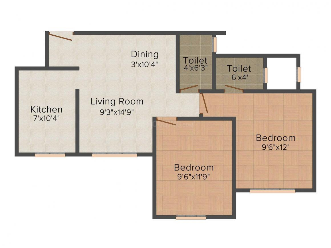 Accel Belvedere Floor Plan: 2 BHK Unit with Built up area of 895 sq.ft 1