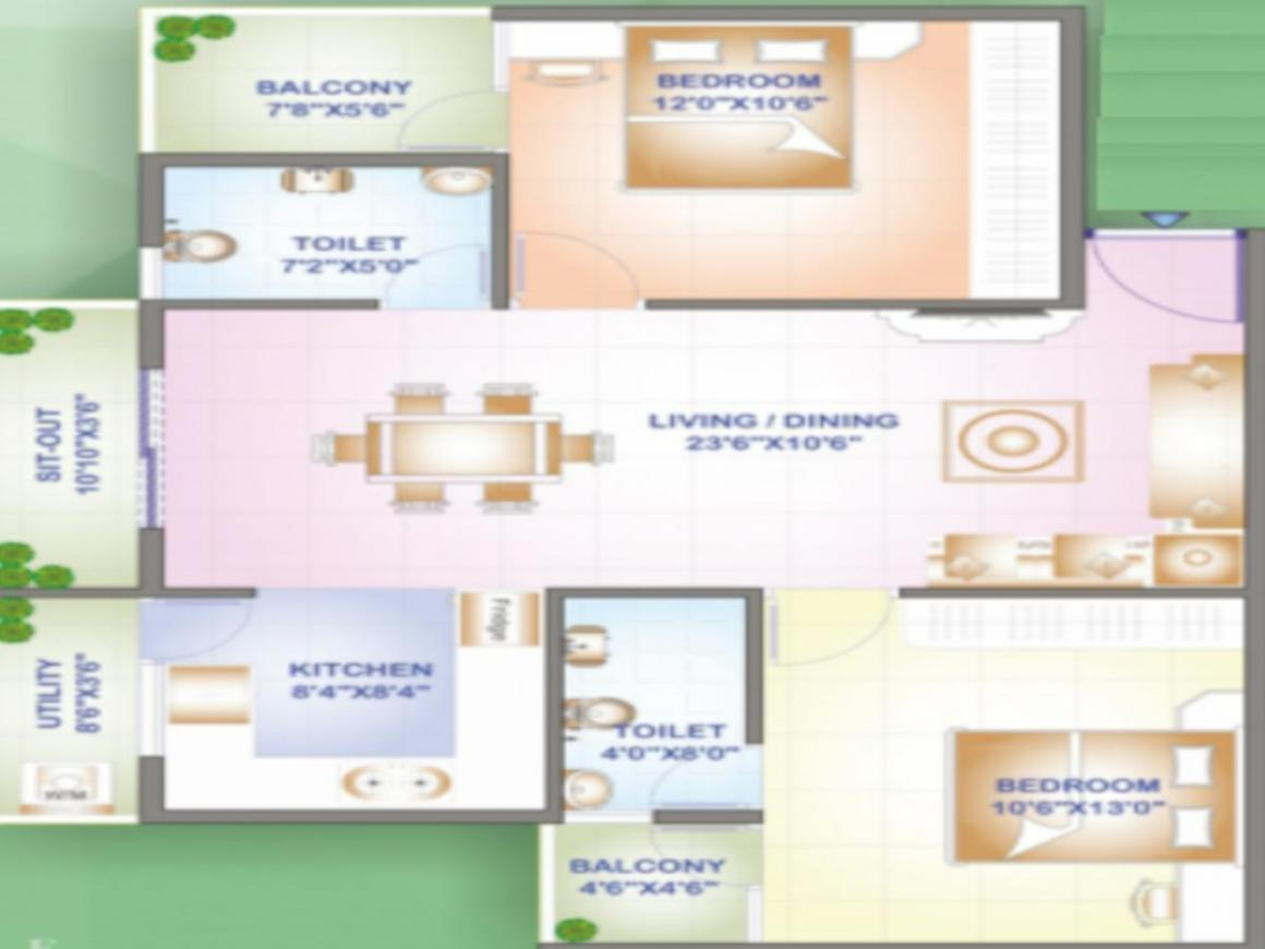 Emmay Environs Pride Floor Plan: 2 BHK Unit with Built up area of 1075 sq.ft 1