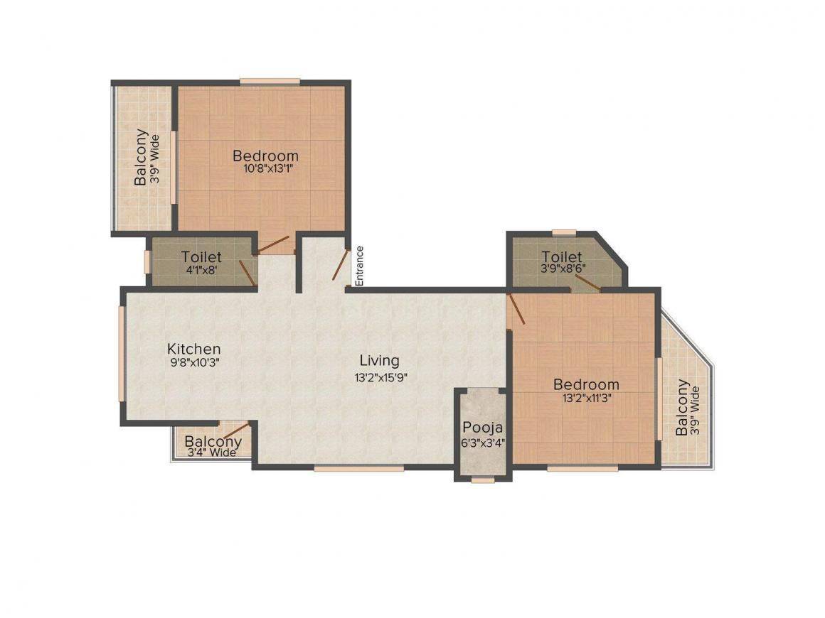Floor Plan Image of 0 - 1164 Sq.ft 2 BHK Apartment for buy in Sanjeevani`s Palash