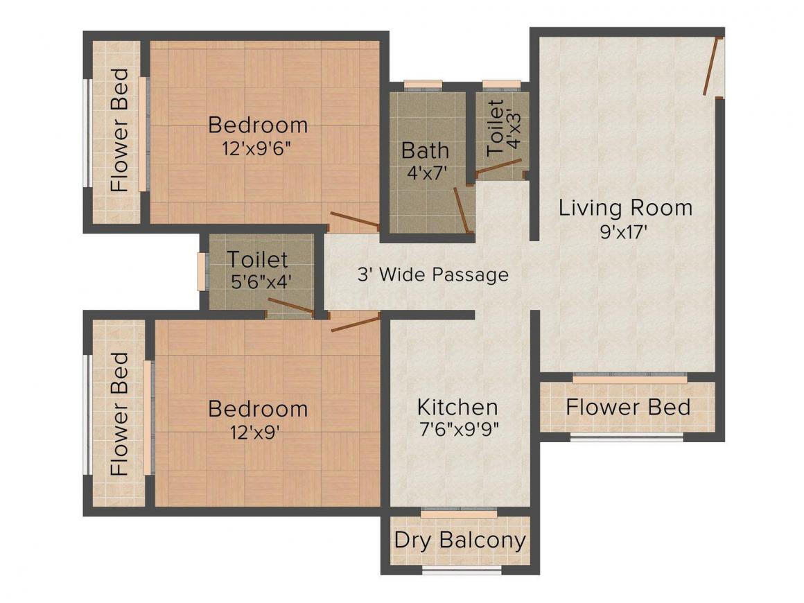 Floor Plan Image of 725.0 - 1340.0 Sq.ft 1 BHK Apartment for buy in Riddhi Radhey Sai Swarg - 3
