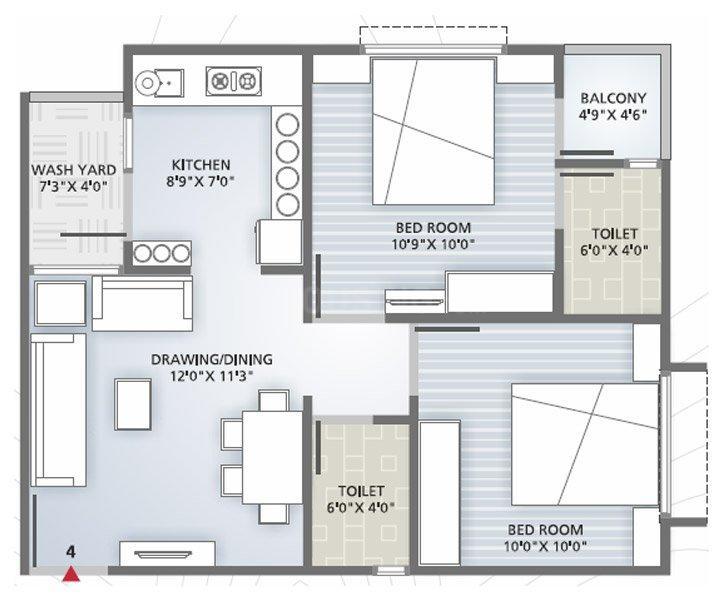 Iris Blueiris II Floor Plan: 2 BHK Unit with Built up area of 1062 sq.ft 1