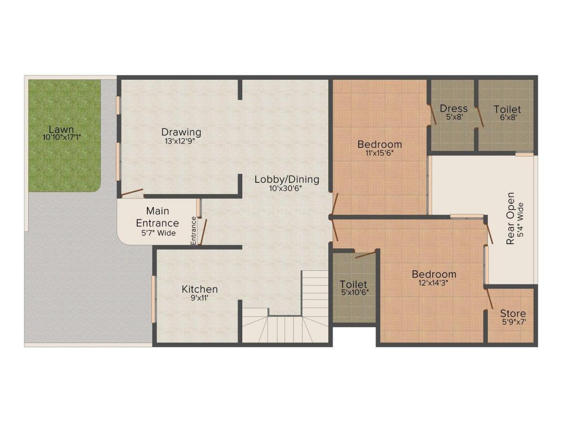 Floor Plan Image of 0 - 2500.0 Sq.ft 4 BHK Villa for buy in Budget Homes 4