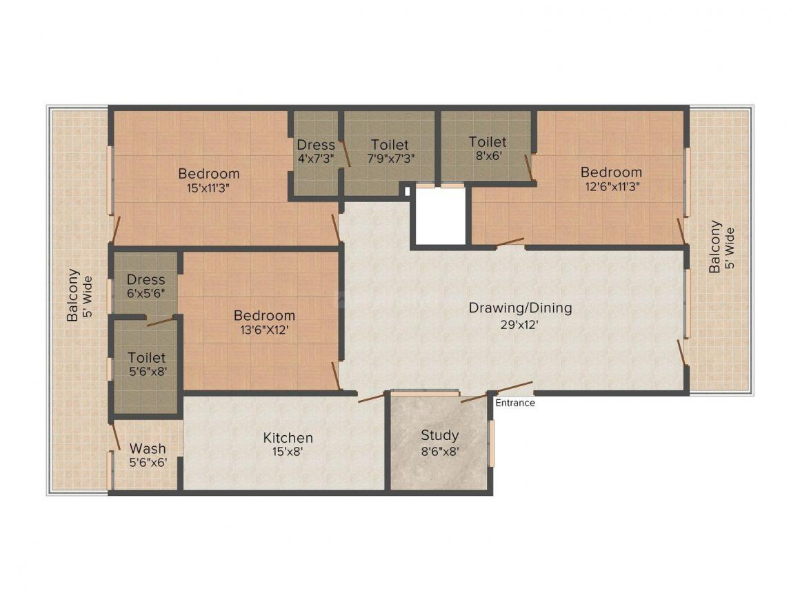 HRV Floors 2 Floor Plan: 3 BHK Unit with Built up area of 2430 sq.ft 1