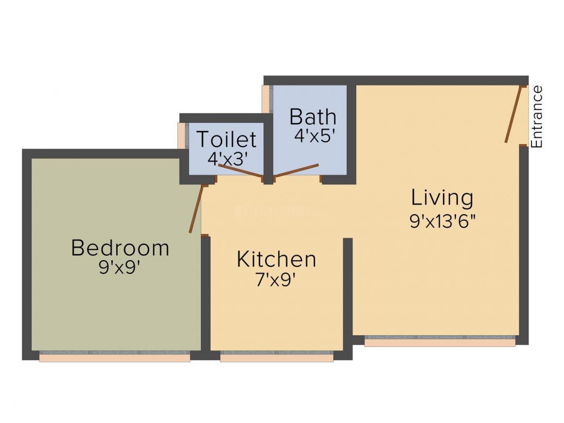 Floor Plan Image of 375.0 - 550.0 Sq.ft 1 RK Apartment for buy in Krisha Phalguni