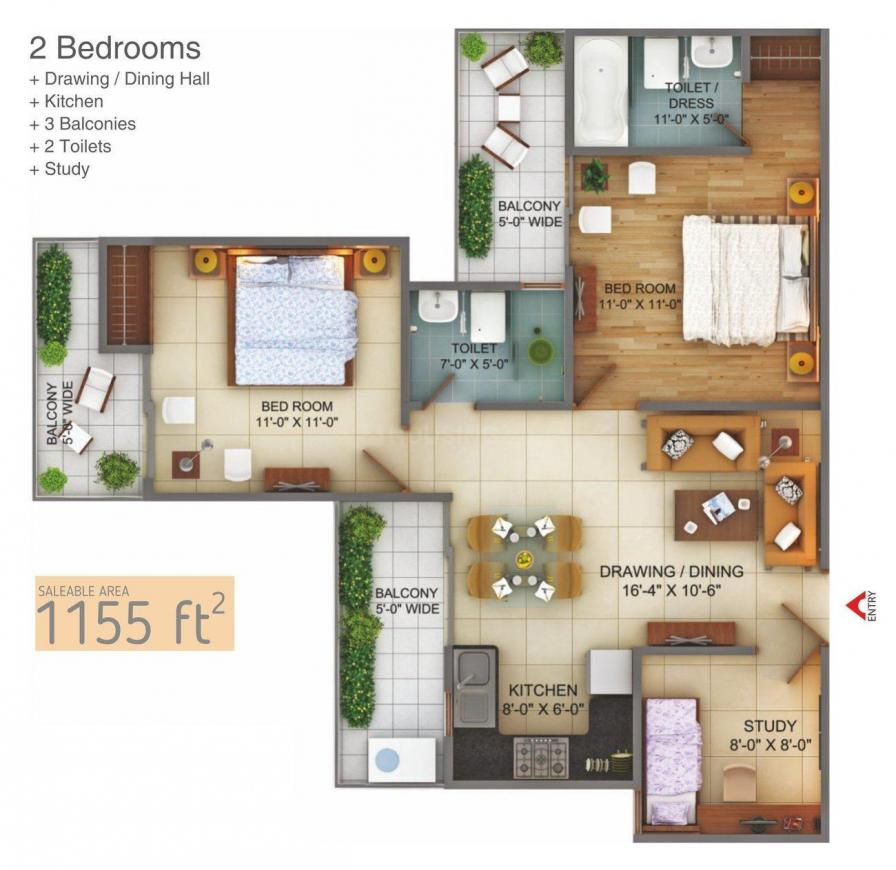 Fusion Homes Floor Plan: 2 BHK Unit with Built up area of 1155 sq.ft 1