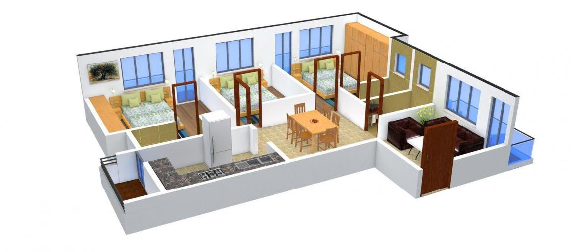 Shyam's Sai Krishna Floor Plan: 3 BHK Unit with Built up area of 1030 sq.ft 1