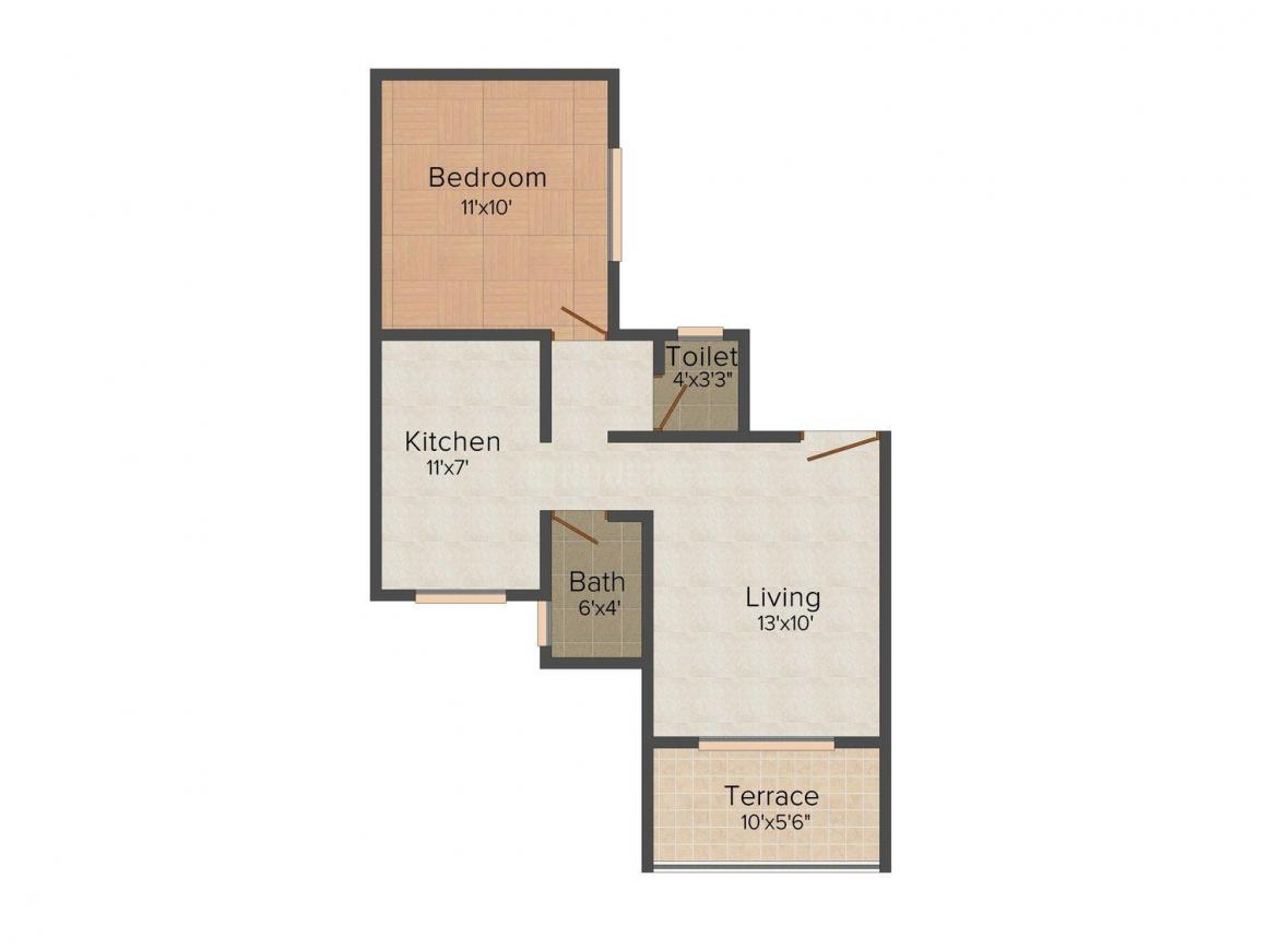 Floor Plan Image of 568.0 - 1140.0 Sq.ft 1 BHK Apartment for buy in Akshay Flora