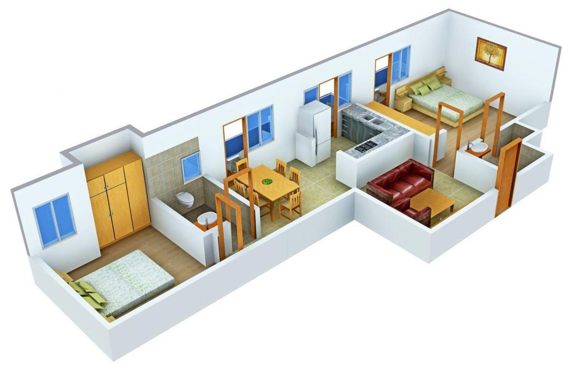 Floor Plan Image of 1027.0 - 1326.0 Sq.ft 2 BHK Apartment for buy in JBM Mitra