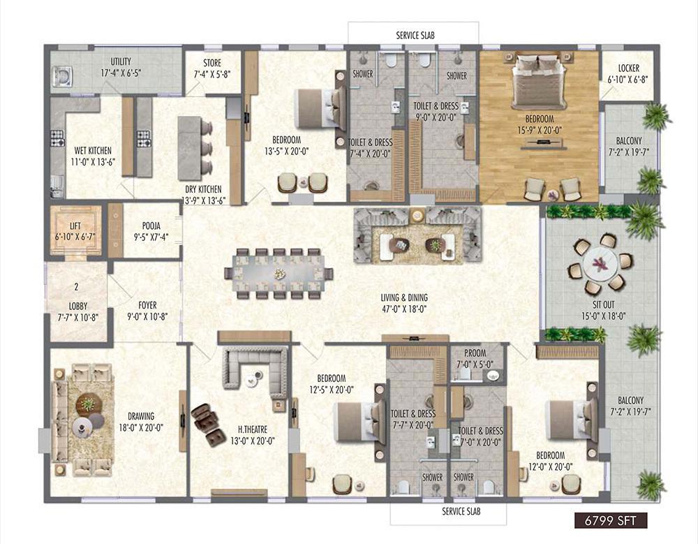 Vamsiram Jyothi Valencia Floor Plan: 4 BHK Unit with Built up area of 6798 sq.ft 1