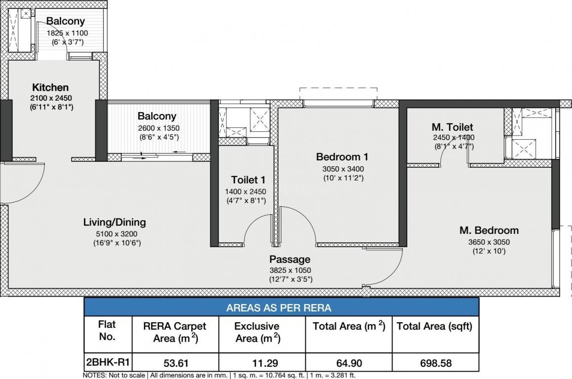 Godrej Nurture Floor Plan: 2 BHK Unit with Built up area of 53.61 sq.mt 1
