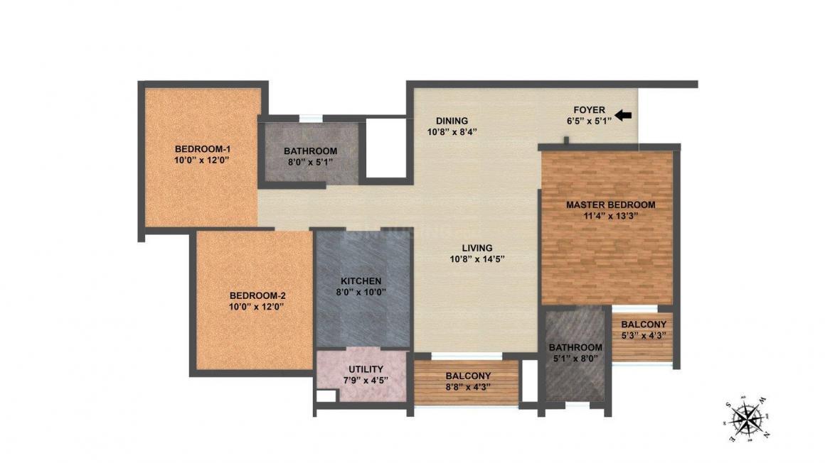 Salarpuria Sattva East Crest Floor Plan: 3 BHK Unit with Built up area of 951 sq.ft 1