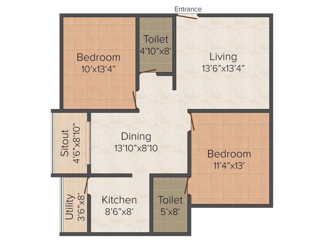 Floor Plan Image of 1100.0 - 1370.0 Sq.ft 2 BHK Apartment for buy in SVP Sunrise