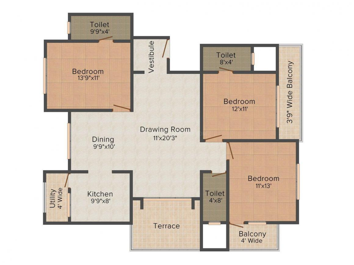 Floor Plan Image of 1300.0 - 1350.0 Sq.ft 3 BHK Apartment for buy in A & M Palm Terrace