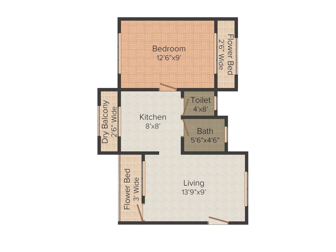 Floor Plan Image of 560 - 690 Sq.ft 1 BHK Apartment for buy in H.P. Life Ghar-Sa