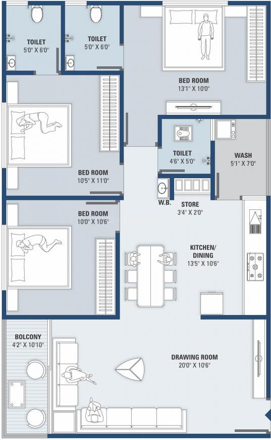 Shreeji Star Floor Plan: 3 BHK Unit with Built up area of 857 sq.ft 1