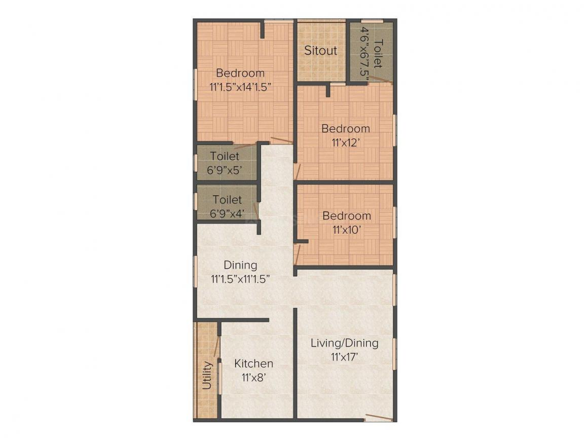 Floor Plan Image of 1449.0 - 1468.0 Sq.ft 3 BHK Apartment for buy in Sreeveni Sai Ganesh Enclave