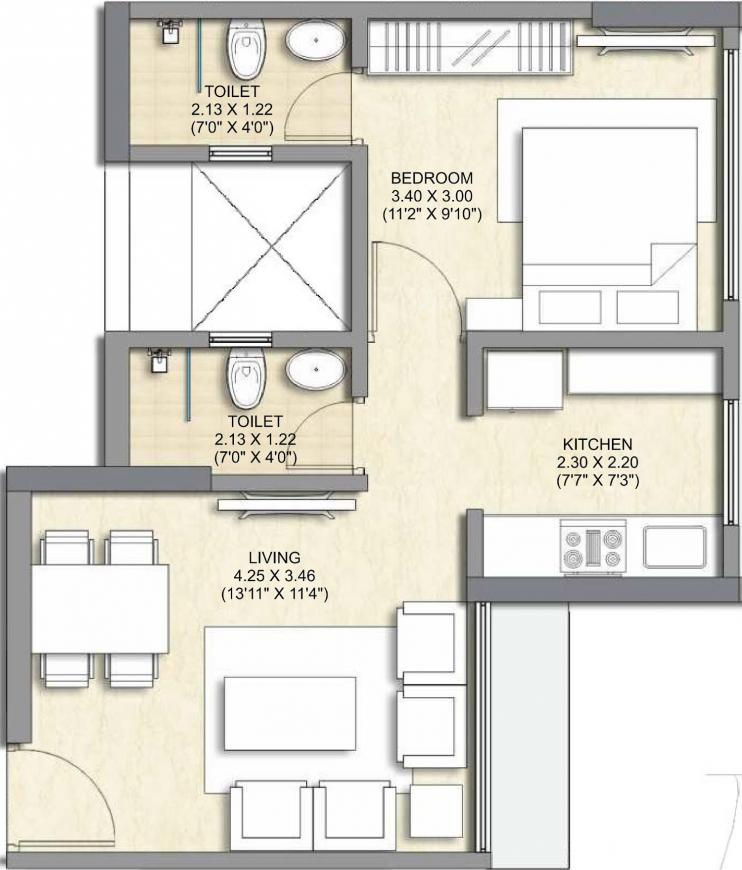 Crystal Armus A To C Floor Plan: 1 BHK Unit with Built up area of 411 sq.ft 1
