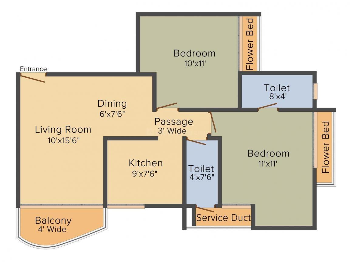 Floor Plan Image of 0 - 990 Sq.ft 2 BHK Apartment for buy in Ashwamedh Atlantis