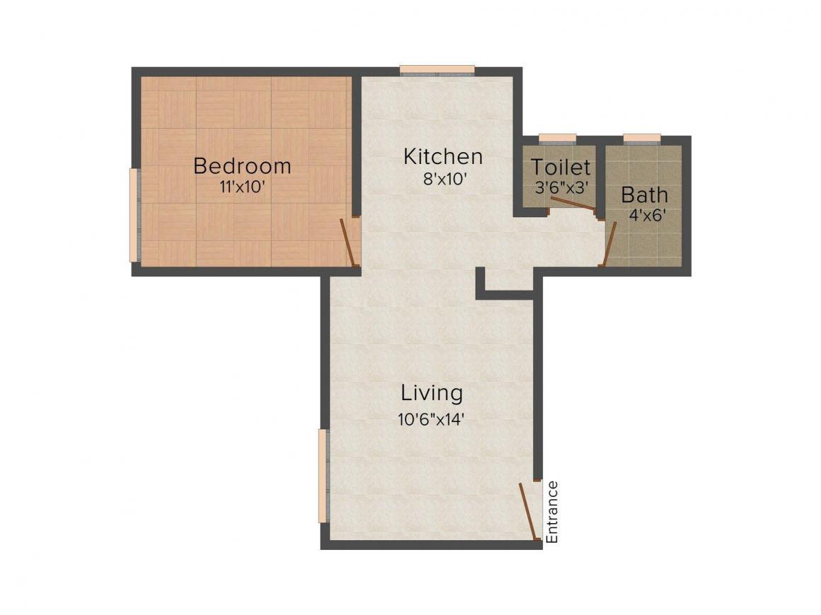 Floor Plan Image of 510 - 605 Sq.ft 1 BHK Apartment for buy in Athashree Landmark