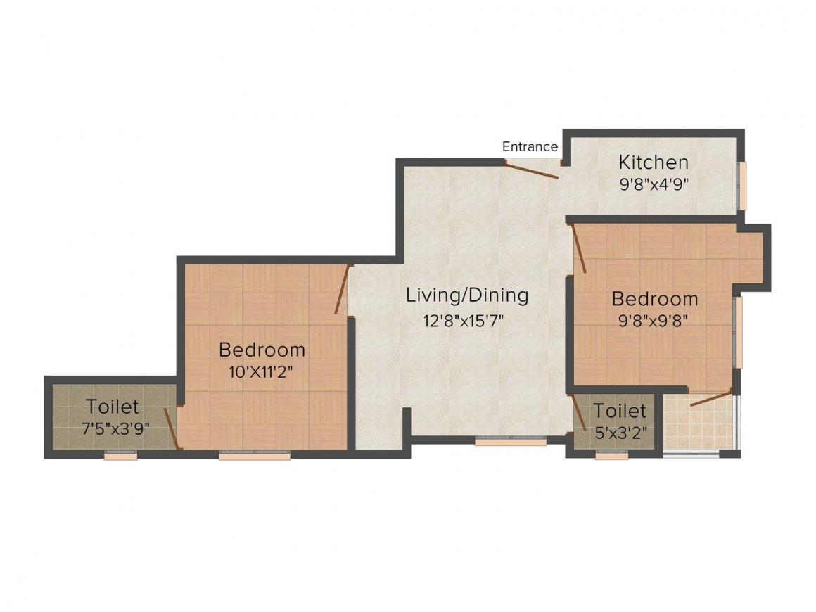 Floor Plan Image of 826 - 1351 Sq.ft 2 BHK Apartment for buy in Omkar Devcon Urvashi