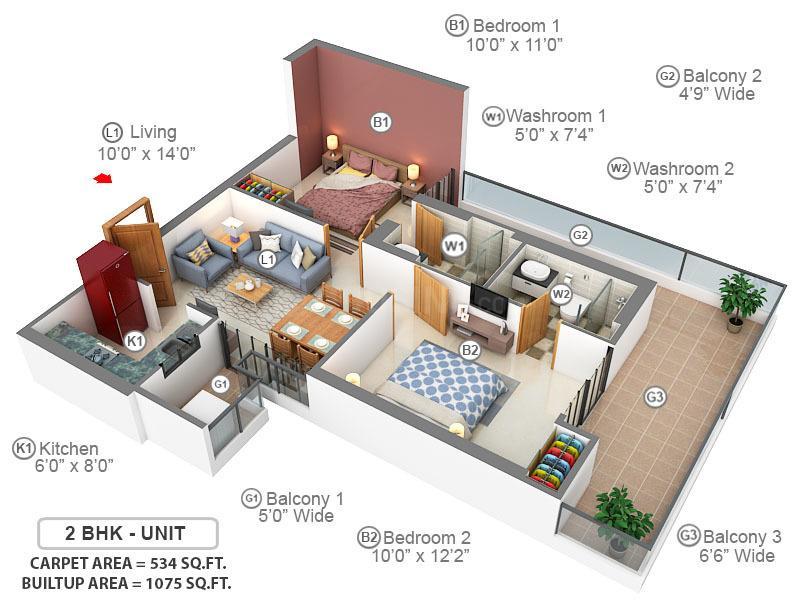 Gaursons Hi Tech 7th Avenue Floor Plan: 2 BHK Unit with Built up area of 534 sq.ft 1