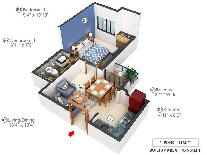 Eden Tolly Gardenia Floor Plan: 1 BHK Unit with Built up area of 476 sq.ft 1