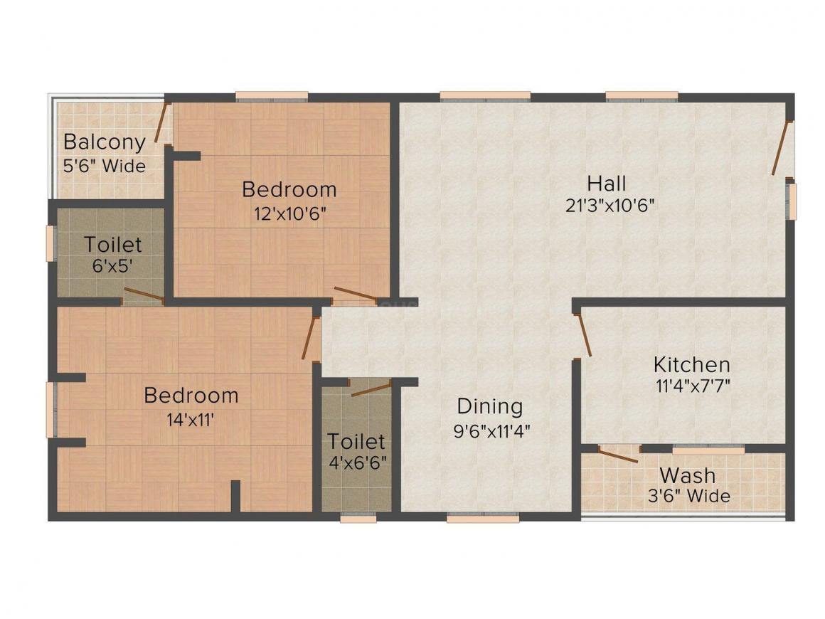 Floor Plan Image of 0 - 1155.0 Sq.ft 2 BHK Apartment for buy in Sri Sai Balaji
