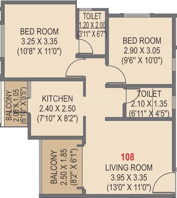 Tirupati Regalia Floor Plan: 2 BHK Unit with Built up area of 628 sq.ft 1